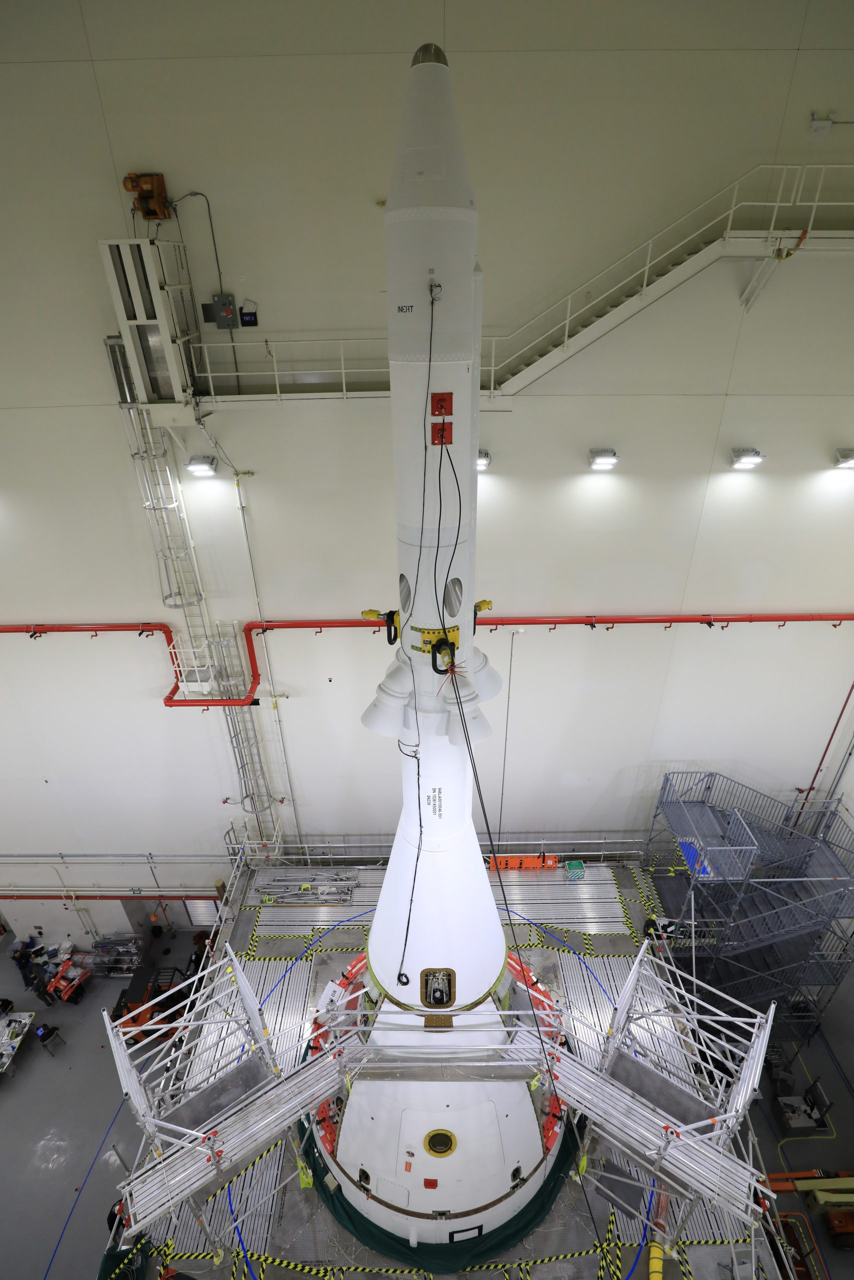 The four ogive fairings for the Orion Artemis I mission are installed on the launch abort system assembly inside the Launch Abort System Facility at NASA's Kennedy Space Center in Florida on Aug. 20, 2021.