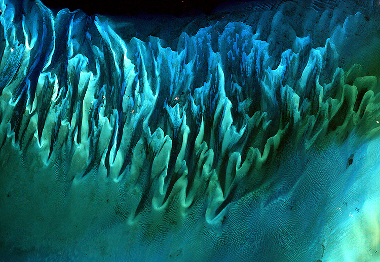 Landsat satellite image of the sands and seaweed in the Bahamas.