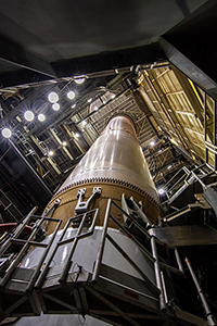 The United Launch Alliance Atlas V booster for NASA's Landsat 9 mission is positioned inside the Vertical Integration Facility at Space Launch Complex 3 at Vandenberg Space Force Base in California, prior to mating with the Landsat spacecraft.