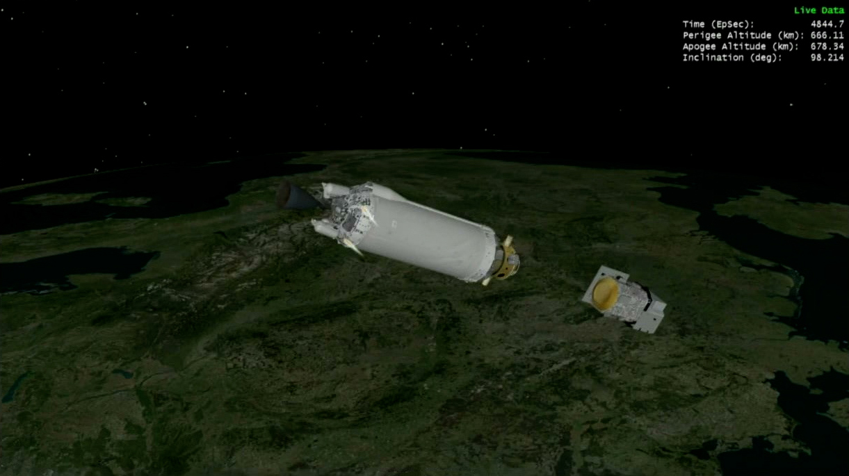 A graphic of Landsat 9 shows successful separation from the United Launch Alliance Centaur upper stage just over an hour and 20 minutes after liftoff.