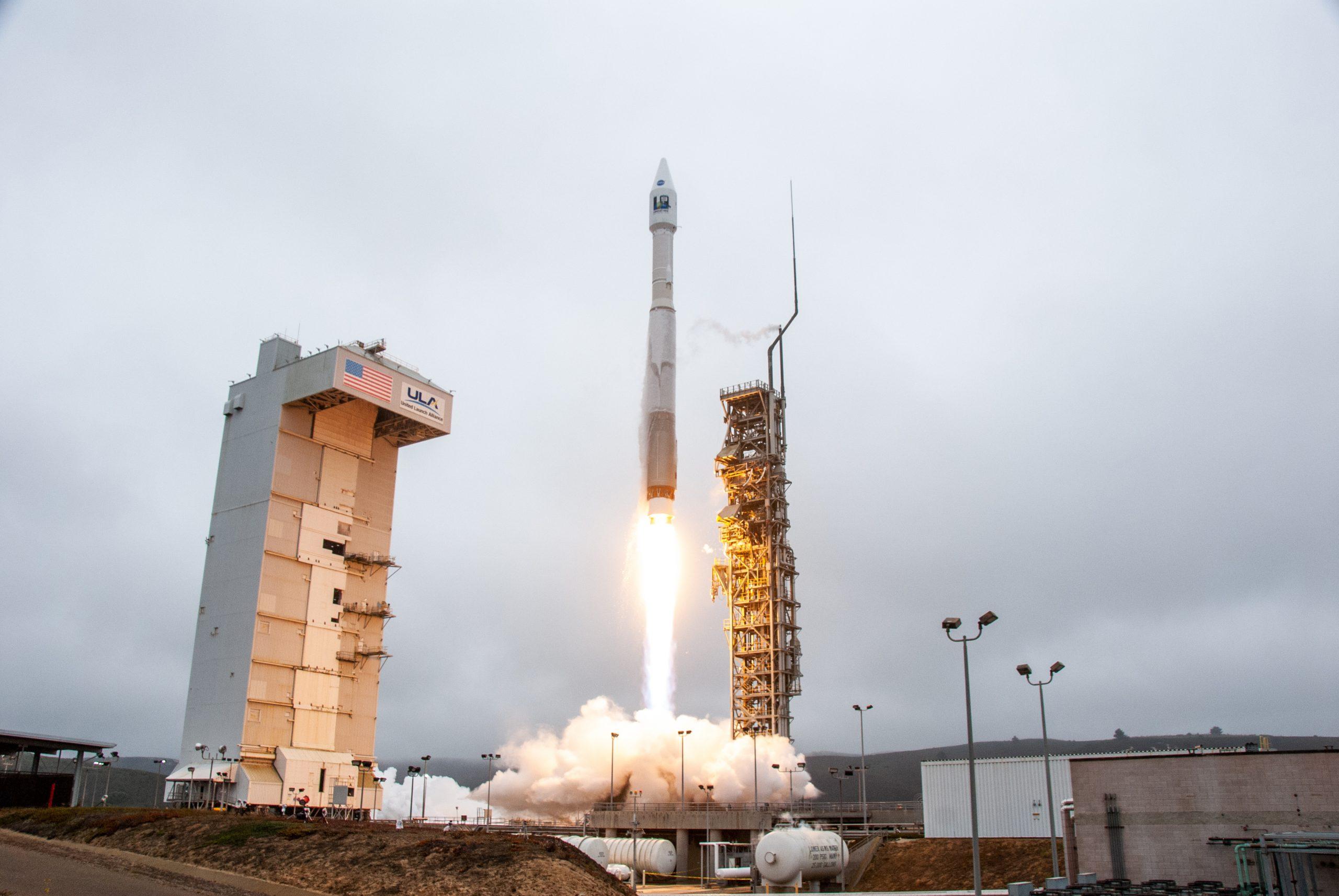 The United Launch Alliance Atlas V rocket launches the Landsat 9 satellite into near-polar, sun-synchronous orbit from Vandenberg Space Force Base on Sept. 27, 2021.