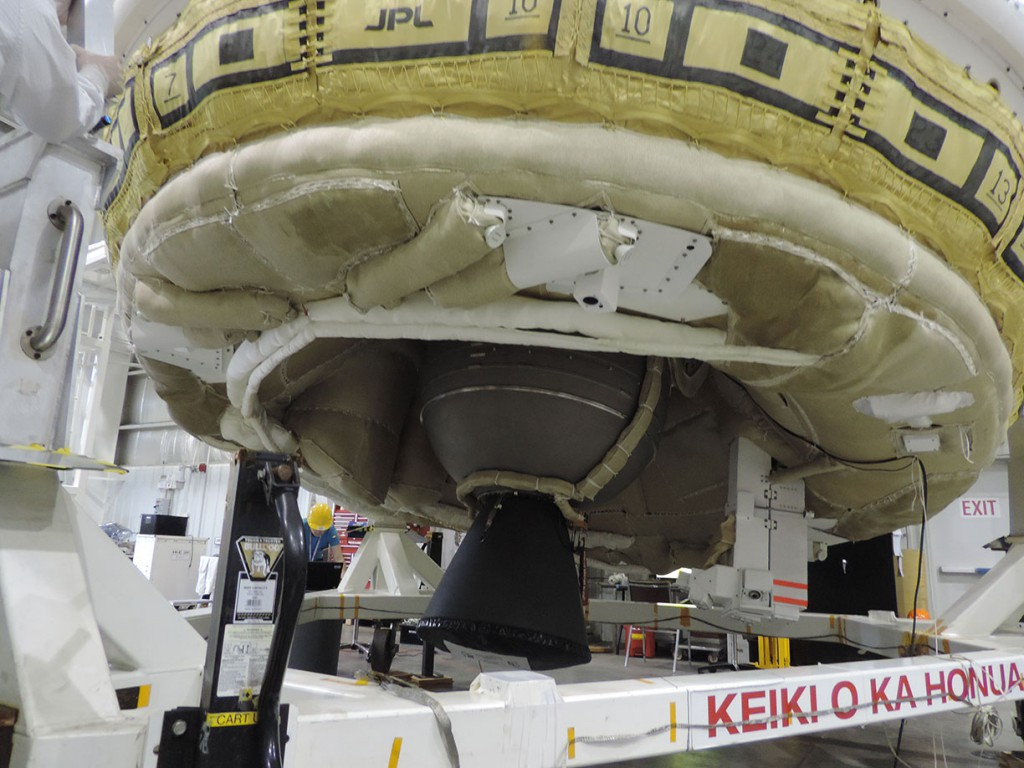NASA's Low-Density Supersonic Decelerator (LDSD) project team is readying the test vehicle by integrating the Star 48 motor into the test vehicle. June 2, 2015, will mark the second test flight of a rocket-powered, saucer-shaped test vehicle into near-space from the U.S. Navy's Pacific Missile Range Facility on Kauai, Hawaii.