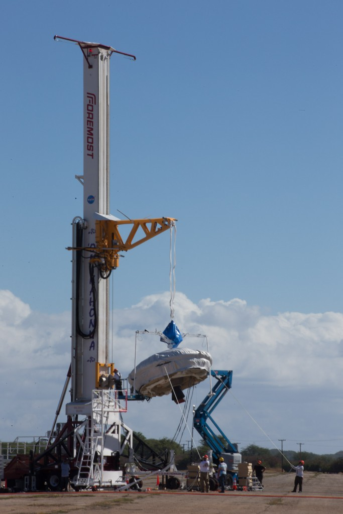 LDSD being lifted by the static launch tower as part of today's training exercise.