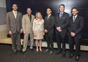 NASA's 2012 PECASE winners (From left: Patrick Taylor, Douglas Hoffman, Randall McEntaffer, Joshua Alwood, and Tamlin Pavelsky) met with Chief Scientist Ellen Stofan (center) at agency headquarters on April 15.