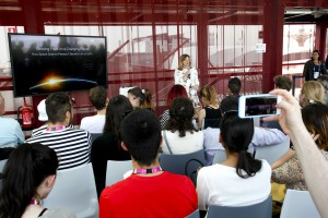 "Caption: NASA Chief Scientist Ellen Stofan delivers a keynote address ""Growing Food on a Changing Planet: How Space Science Research Benefits Life on Earth"" at the USA Pavilion on May 11 during Expo Milano 2015. Image courtesy of http://www.expo2015.org"
