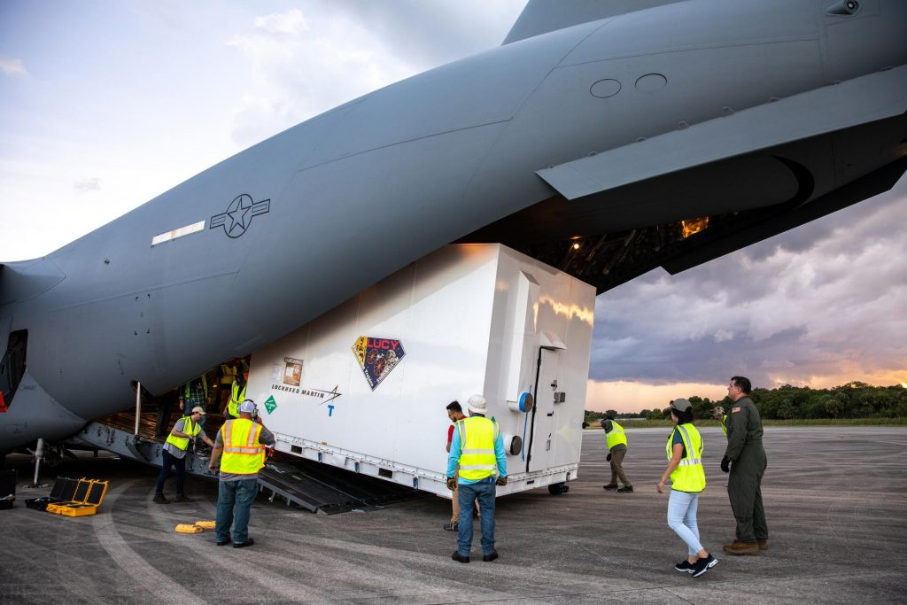 NASA's Lucy spacecraft unloaded at Kennedy Space Center