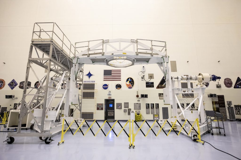 The Spacecraft Assembly and Rotation Fixture (SCARF) that will be used to process the Mars 2020 rover is photographed inside the Payload Hazardous Servicing Facility at NASA's Kennedy Space Center in Florida on Nov. 22, 2019.