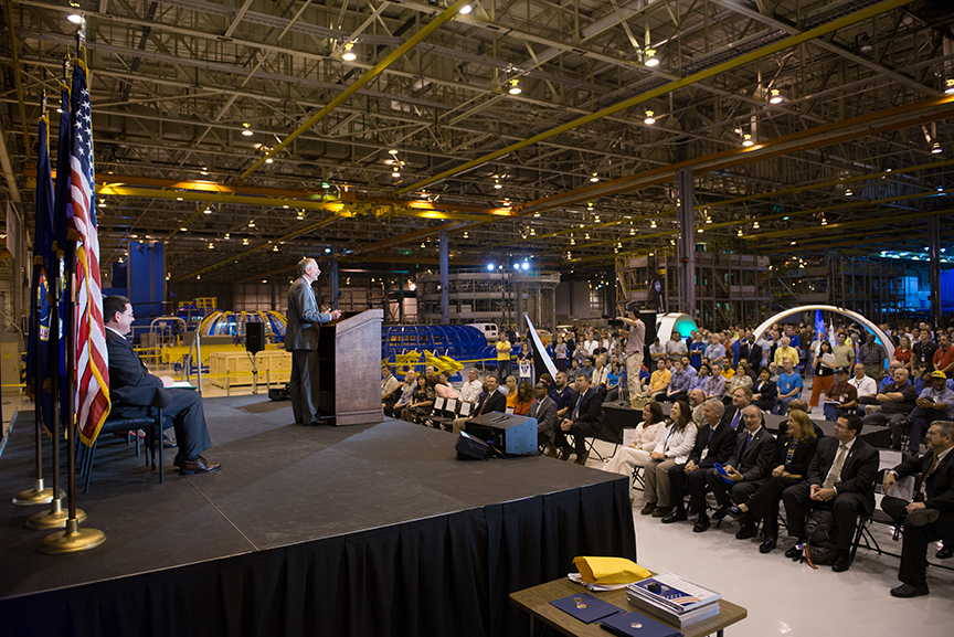 Human Exploration and Operations director William Gerstenmaier addresses NASA employees and contractors during an all-hands meeting held June 21 in Michoud's expansive advanced manufacturing facility. Gerstenmaier visited Michoud to view progress on the Space Launch System (SLS) and the Orion Multipurpose Crew Vehicle (MPCV) programs.