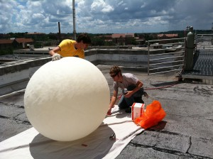 Max and I filling a balloon for an ozonesonde launch. (Photo credit to Antonio Riggi)