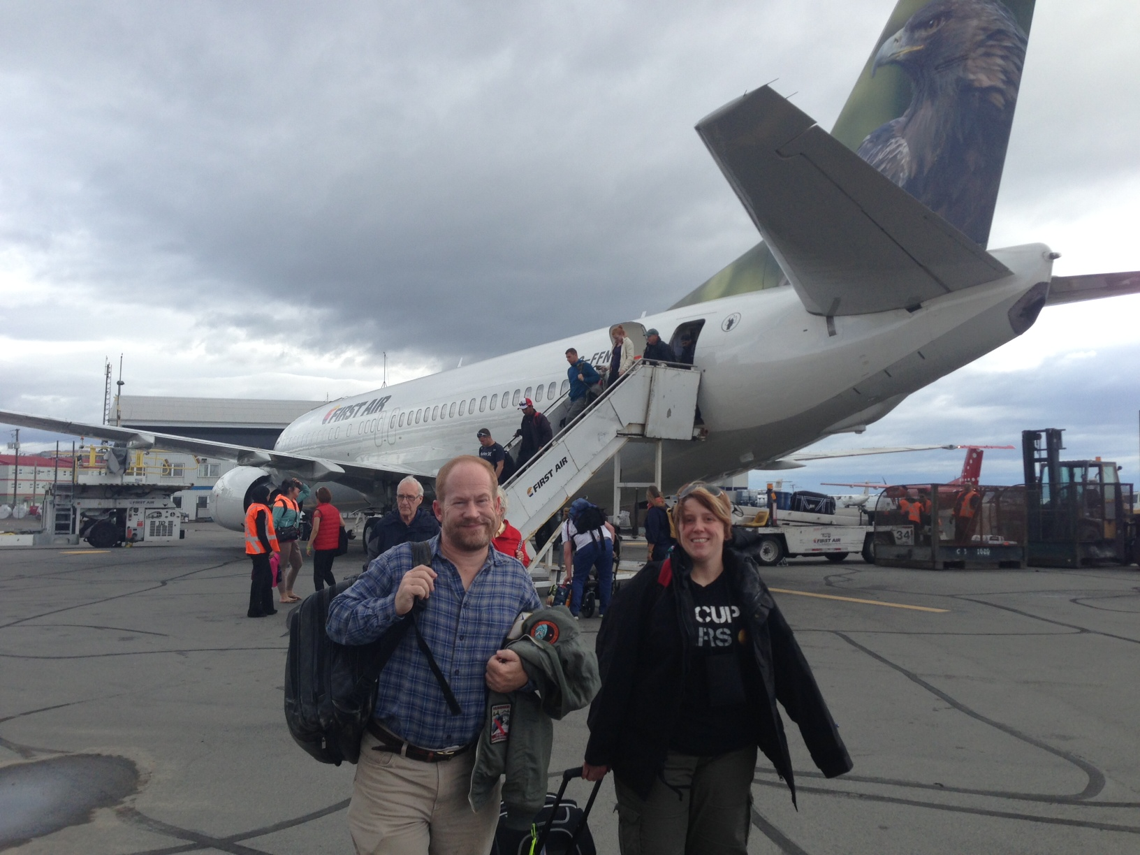 Ames team members (Brian Glass and student intern April Davis) arrive in Iqaluit, en route to Devon Island, Nunavut.