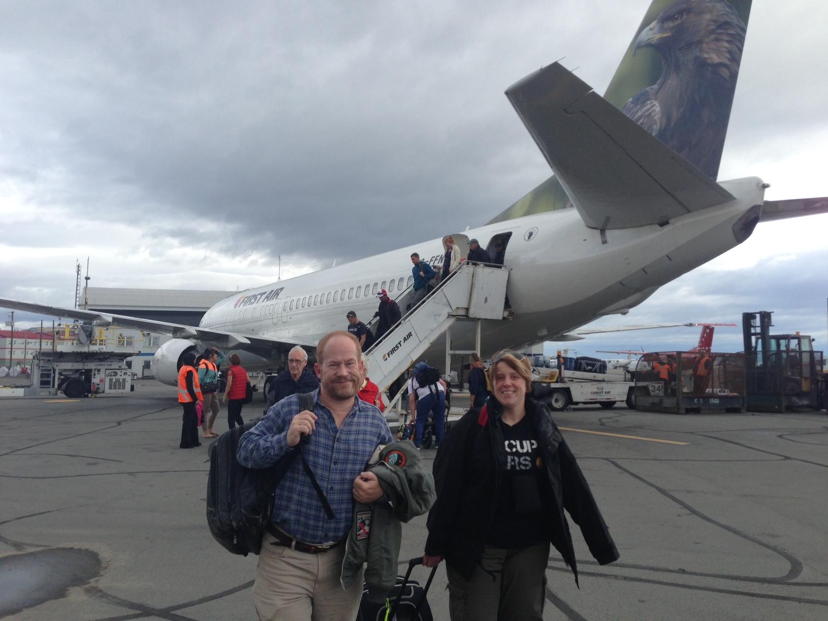 Ames team members (Brian Glass and student intern April Davis) arrive in Iqaluit, en route to Devon Island, Nunavut.