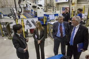 NASA Deputy Administrator Dava Newman, second from left, visits the Langley Research Center and the ISAAC robot. Photo credit: NASA_Langley