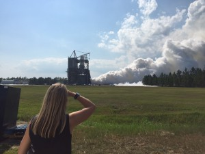 NASA Deputy Administrator Dava Newman watches an RS-25 engine test at NASA's Stennis Space Center in Mississippi.  Photo credit: NASA/Stennis