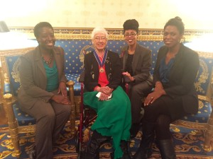 White House Office of Science and Technology staffers meet with Medal of Freedom recipient Katherine Johnson. From left, Afua Bruce, Johnson, Knatokie Ford, and Payton Iheme. (Photo Credit: OSTP)