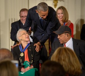 President Barack Obama presents former NASA mathematician Katherine Johnson with the Presidential Medal of Freedom, as professional baseball player Willie Mays, right, looks on, Tuesday, Nov. 24, 2015, during a ceremony in the East Room of the White House in Washington. President Barack Obama presents former NASA mathematician Katherine Johnson with the Presidential Medal of Freedom, as professional baseball player Willie Mays, right, looks on, Tuesday, Nov. 24, 2015, during a ceremony in the East Room of the White House in Washington. (Photo Credit: NASA/Bill Ingalls)