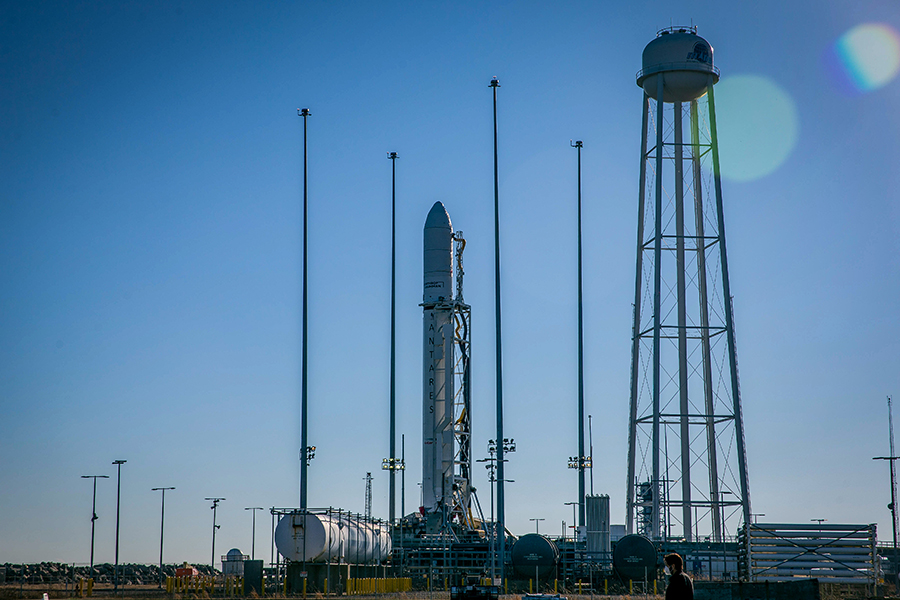 Northrop Grumman's Cygnus space freighter sits atop the Antares rocket at the Wallops Flight Facility launch pad in Virginia. Credit: NASA/Patrick Black