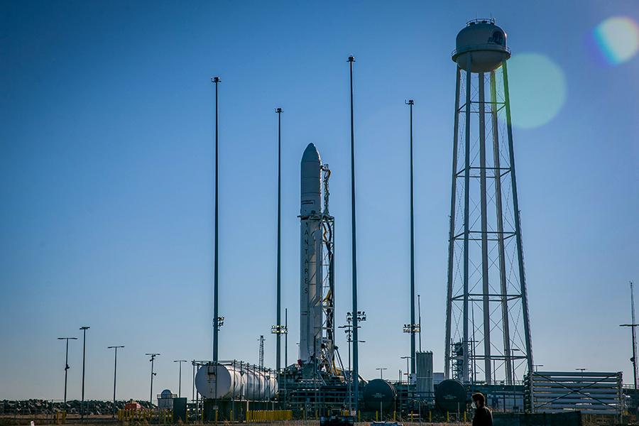 Northrop Grumman's Cygnus space freighter sits atop the Antares rocket at the Wallops Flight Facility launch pad in Virginia. Credit: NASA/Patrick Black