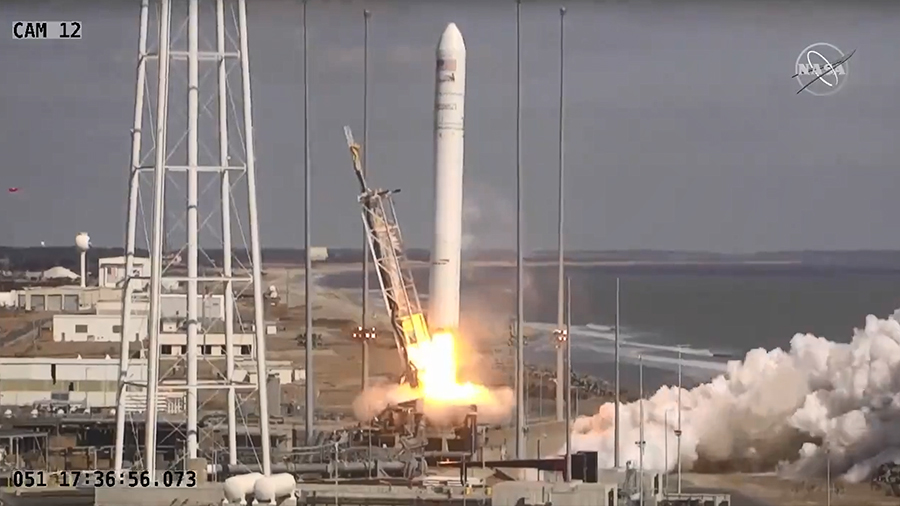 The Cygnus cargo craft launches atop the Antares rocket on time from NASA Wallops Flight Facility in Virginia.