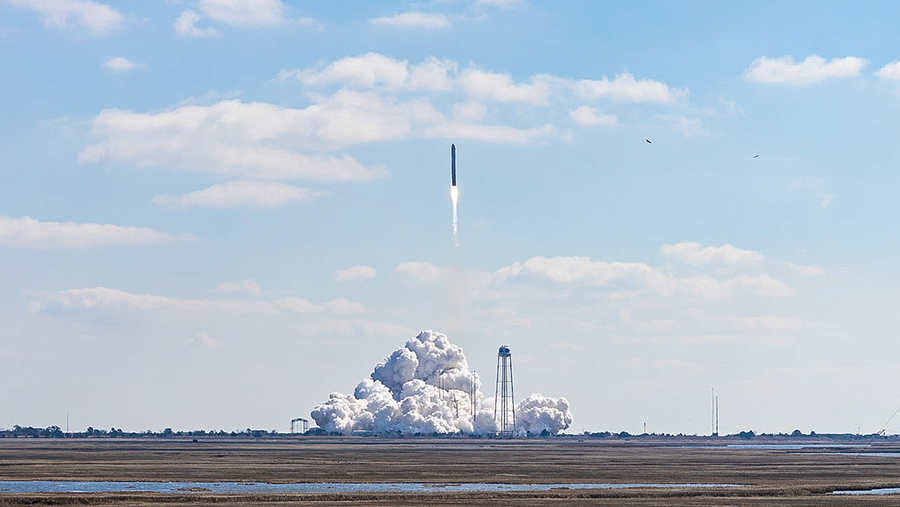 Northrop Grumman's Antares rocket blasted off with the Cygnus space freighter today at 12:36 p.m. EST from Virginia. Credit: NASA Wallops/Allison Stancil