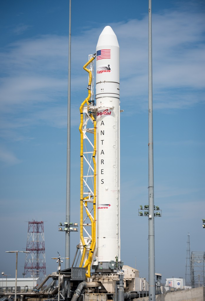 File photo of Antares rocket from preparations for a launch in April 2013. Credit: NASA/Bill Ingalls