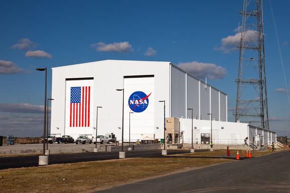The Horizontal Integration Facility at NASA's Wallops Flight Facility. Credit: NASA