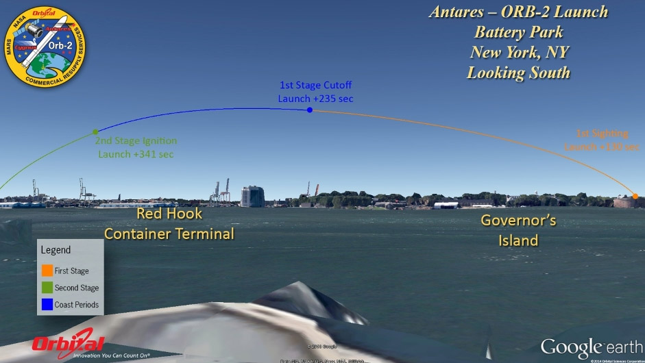 Simulated view of Orbital-2's launch path as seen from Battery Park in New York City. Credit: Orbital