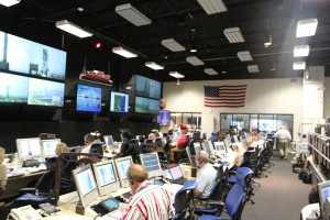 The control room at NASA's Wallops Flight Facility during a dress rehearsal for a launch in September 2013. Credit: NASA