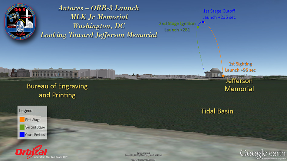 view of trajectory over tidal basin