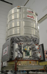 The CRS-3 Cygnus spacecraft at NASA's Wallops Flight Facility in Virginia, prior to being mated to the Antares rocket. Credit: Orbital Sciences Corp.