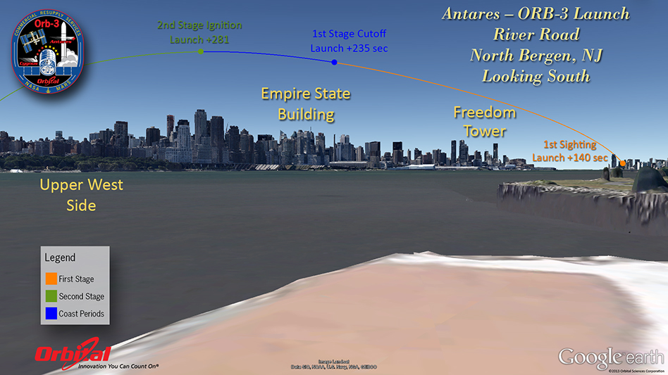 trajectory over the upper west side.
