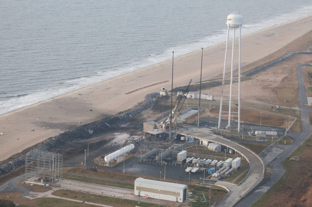An aerial view of the Wallops Island launch facilities taken by the Wallops Incident Response Team Oct. 29 following the failed launch attempt of Orbital Science Corp.'s Antares rocket Oct. 28.