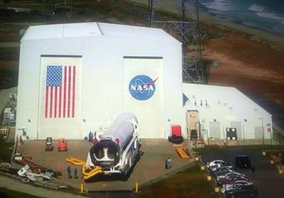 Antares rocket rolls out of the NASA Wallops HIF on Oct. 13, 2016. Credit: NASA