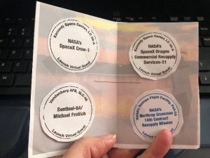 example of virtual passport, with four event stamps taped inside