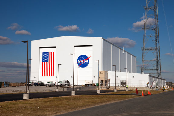 The Horizontal Integration Facility at NASA's Wallops Flight Facility. Credit: NASA