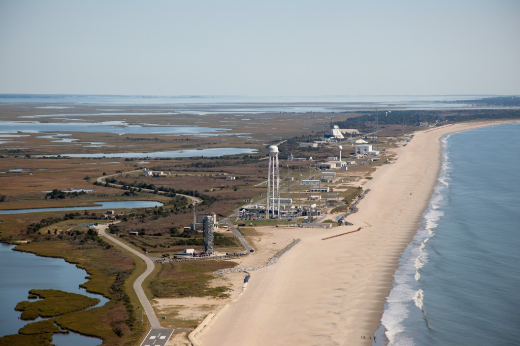 This aerial photograph shows a view of the Wallops Flight Facility's launch range. Credit: NASA