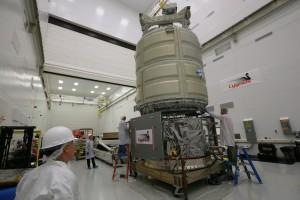 The Cygnus cargo spacecraft. Credit: NASA Wallops/Patrick Black
