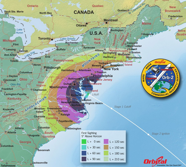 Map of U.S. East Coast showing first-sight viewing times of the Orbital-2 launch. Credit: Orbital