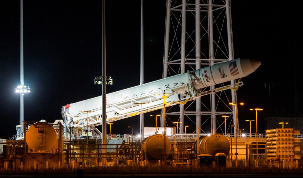 Antares raised into vertical position