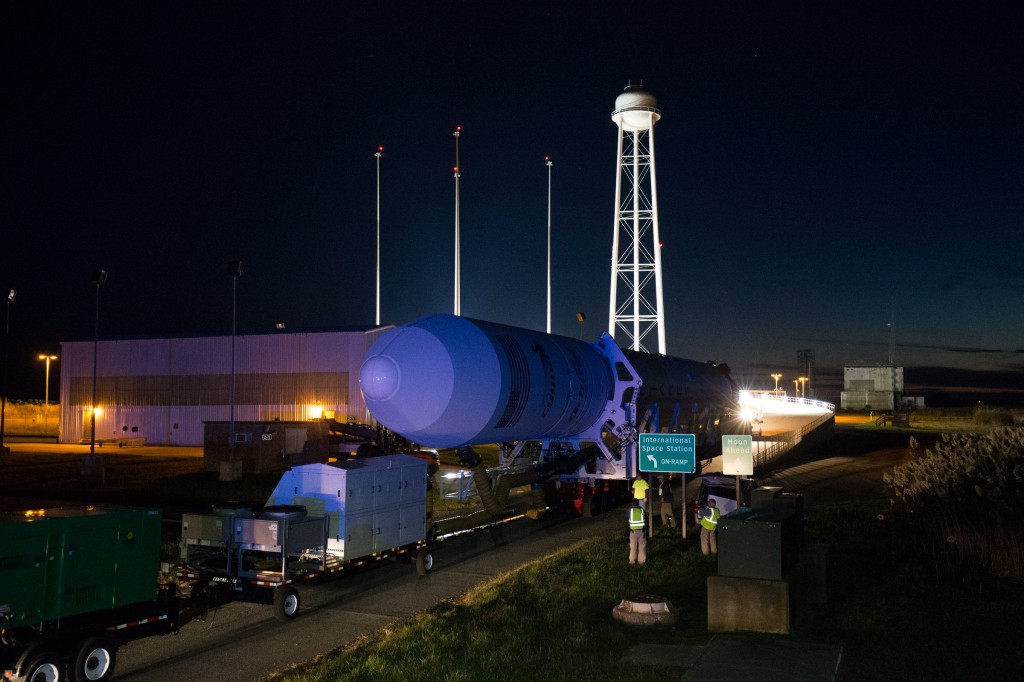 Antares rocket rolls to pad