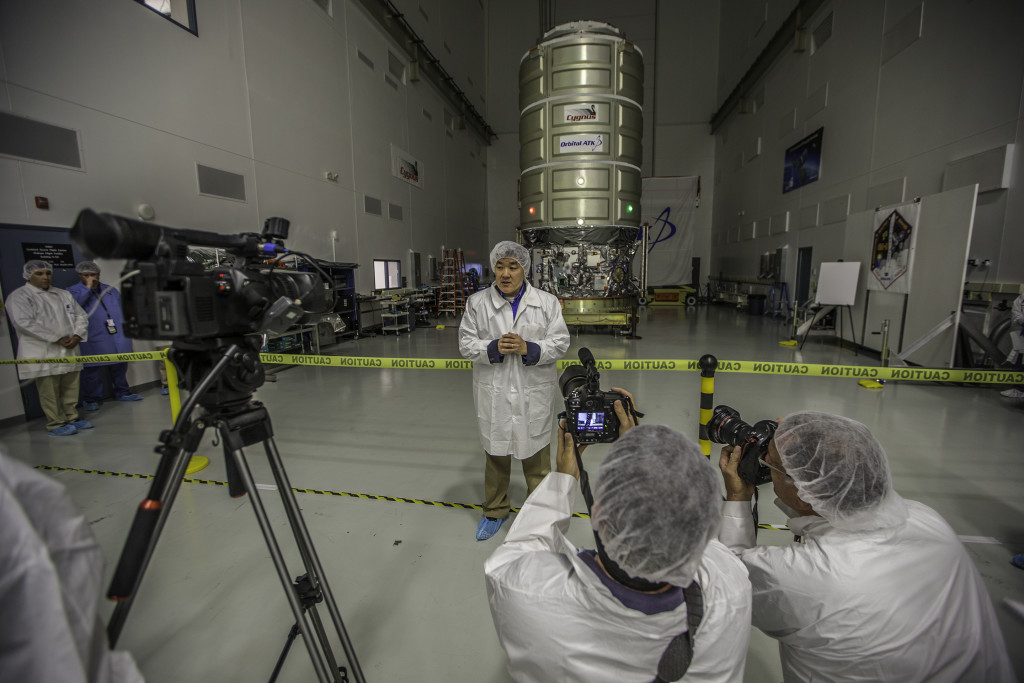 Dan Tani, senior director of Orbital ATK mission and cargo operations in front of Cygnus Cargo Module