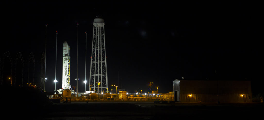 Antares rocket at night