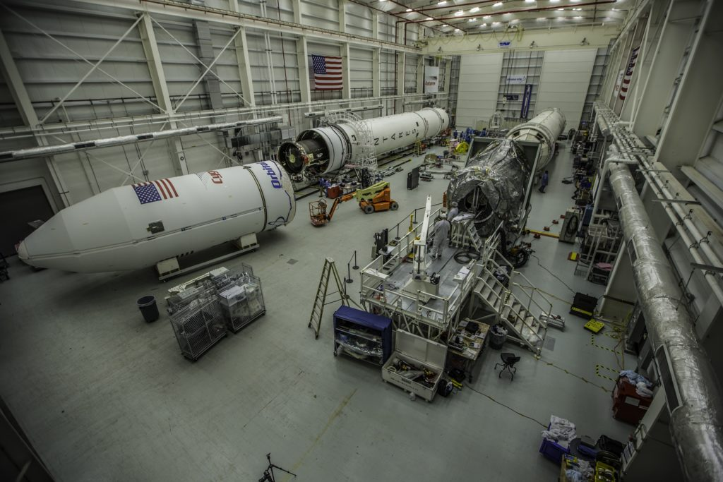 rocket and payload in fairing in warehouse