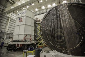 Empty Cygnus spacecraft with covering