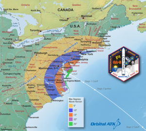 This graphic depicts the maximum elevation the Antares rocket will appear above the horizon for skywatchers in the Mid-Atlantic. For example, a viewer in Pittsburg would not expect to see the rocket appear higher in the sky than five degrees above the horizon (about the width of three fingers held at arm's length). A viewer in . Credit: Orbital ATK