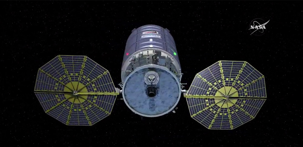 Computer model of Cygnus spacecraft with solar arrays deployed. Credit: NASA TV