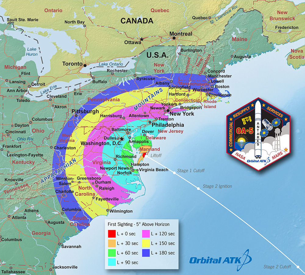 "This ""first-sight"" map indicates potential to see Orbital ATK's Antares rocket in the minutes following its launch. Credit: Orbital ATK"