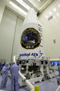 Prior to its move to Space Launch Complex 41, the Orbital ATK Cygnus pressurized cargo module was encapsulated in the United Launch Alliance Atlas V payload fairing inside the Payload Hazardous Servicing Facility.