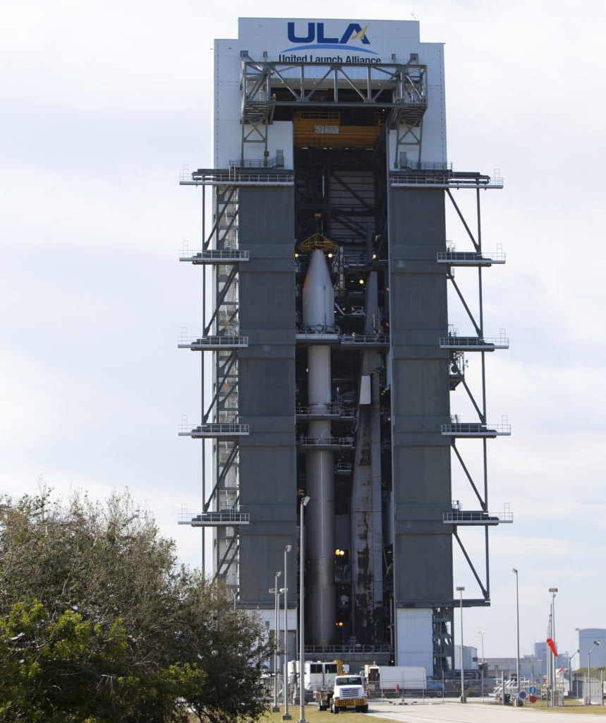 The Cygnus pressurized cargo module is mated to the Atlas V rocket at Space Launch Complex 41 at Cape Canaveral Air Force Station.