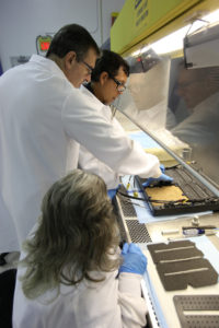 Dr. Oscar Monje, (far left) a research scientist, packs a growing substrate called arcillite in the science carrier, or base, of the Advanced Plant Habitat (APH) inside a laboratory at the Space Station Processing Facility at Kennedy Space Center. Assisting him is Jeffrey Richards, project science coordinator with SGT on the Engineering Services Contract. Seated in the foreground is Susan Manning-Roach, a quality assurance specialist, also with ESC.