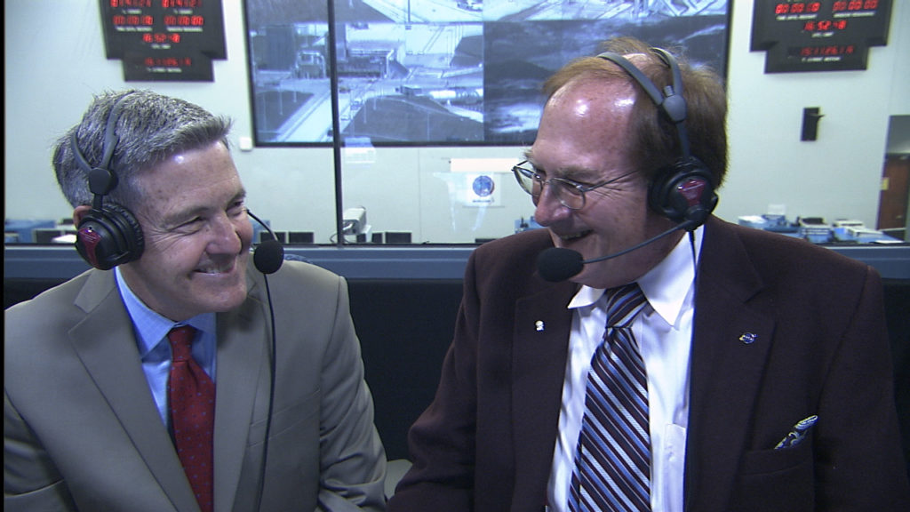 Kennedy Space Center Director Bob Cabana, left, chats with NASA Launch Commentator George Diller during coverage of the Orbital ATK CRS-7 launch.